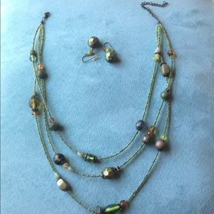 Adjustable Beaded necklace and earring set